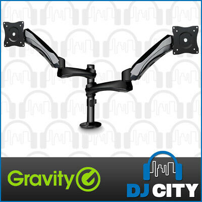 Gravity GSA6132B Fully Adjustable Dual Monitor Screen Stand for Tabletop / Desk