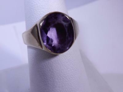 Antique Vintage Mens Ring Amethyst Stone Arts and Crafts 10K Gold Size 7.75