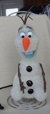 "Disney Frozen Olaf Eva Lamp Night Light Snowman 11"" Cord Switch Tested & Works"