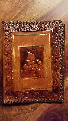 Vintage Sailboat book leather like cover (10x7x0.5'')