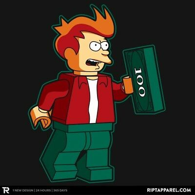 "Mens T-Shirt - LEGO ""Shut Up and Take My Money"" Fry Futurama US Mens XXL - Black"