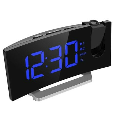 2.0'' LED Digital FM Radio Projection Dual Alarm Clock Dimmable USB Charger