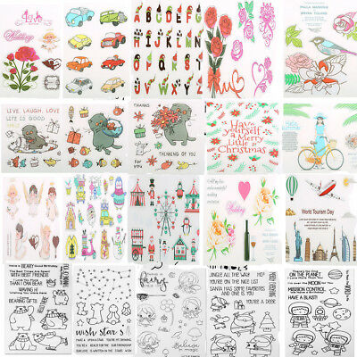 Cartoon Transparent Silicone Clear Rubber Stamp Sheet Cling Scrapbooking DIY NEW