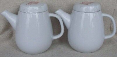 """Set of 2 White Ceramic Red Rose Teapots with """"Red Rose"""" Printed on Lid"""