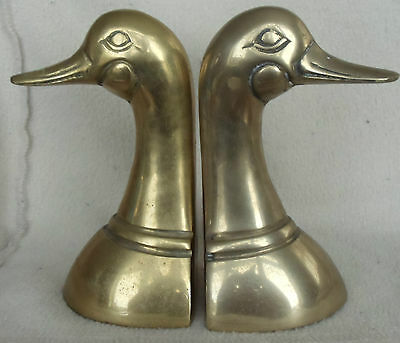 "Set of 2 Vintage Brass Duck Head Book Ends 6"" Sculpture Detailed Very Heavy"