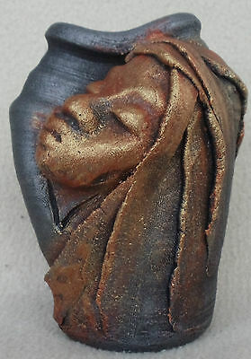 "Creative Clays 96 Jamaica Vase Woman's Face Pottery 4.5"" Unique Work of Art!"