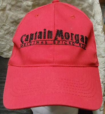 Captain Morgan Original Spiced Rum Red Baseball Cap Hat Logo Blue Embroidery