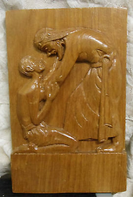 """Hand Carved Wood Wall Plaque Jesus Helping Man Vintage 5.5""""  x 8.5"""" Detailed"""