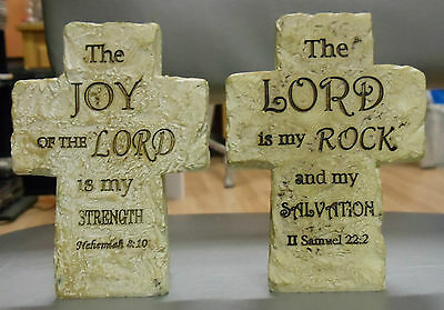 "Set of 2 Crosses; Bible Verses; 3.75""x 2.75""; Resin (Looks like Stone)"