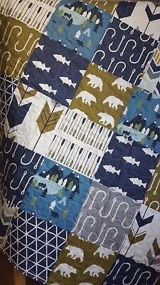Handmade Baby Fishing Quilt, Toddler, Adventure, Boy, Fish and Bear Bedding