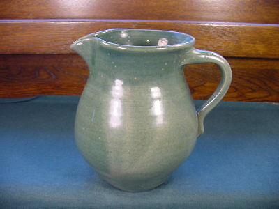 Vintage Cornelison Pottery Bybee Kentucky Hand Made Green Pitcher no 84