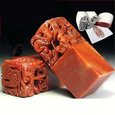 Chinese Traditional Five Dragons Scarlet Carving Sculpture Name Stone Jade Seal