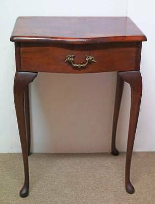 1950s Burgess Queen Anne Single Drawer Mahogany Bedside Table with Cabriole legs