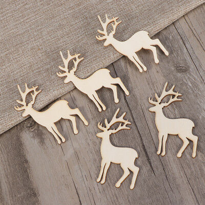 5pcs Wood Tag Wooden Reindeer Cutout Pieces Christmas Table Scatter Decor Crafts