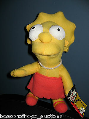 "LISA SIMPSON The Simpsons Plush 12"" Stuffed Doll 2005 NANCO w/ Necklace Rare!"