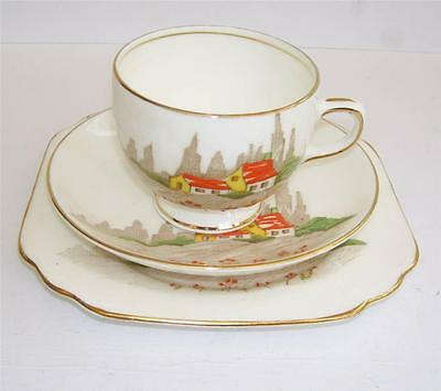 Charming Art Deco Gladstone China Hand Enamelled Hand Painted Teacup Trio.