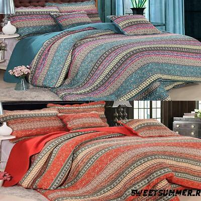 AU 3 Piece Bohemian Style Quilted Bedspread Hippie Bedding Sets Pure Cotton