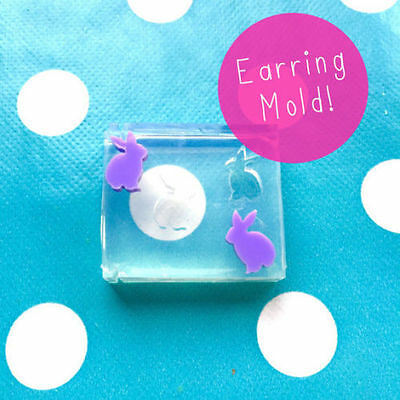 SILICONE EARRING MOLD - Bunny Rabbit Earrings Resin Jewellery Craft Mould Stud