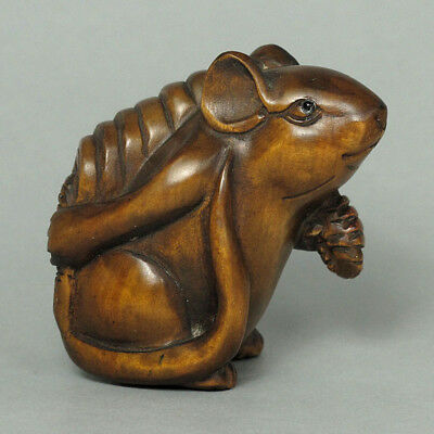 Boxwood Wood Netsuke Cute Rat Mice Figure Carving (WN508)