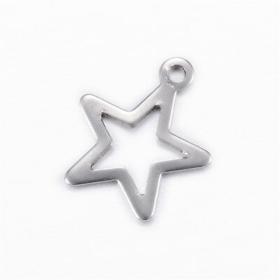 100pcs 304 Stainless Steel Hollow Star Charms Christmas Pendants Smooth 15x13mm