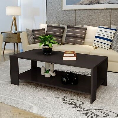 New Rectangle Sofa Coffee Table End Table Living Room Home Furniture Shelf Black