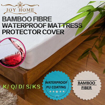 All Size Fully Fitted Bamboo Fibre Fiber Waterproof Mattress Protector Cover