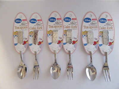 F/S Disney Alice in Wonderland Spoon Cake Fork Teaspoon From Japan 1Set/6Pcs