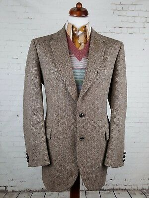 Vintage 1970s Leather Button Brown Herringbone Harris Tweed Jacket -44L- EJ72