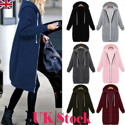 UK New Women Long Sleeve Zip Up Hooded Hoodie Sweatershirt Jumper Cardigan Coat