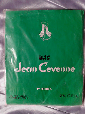 Bas stockings nylon vintage Jean Cevenne gris taille 1FR36/38 UK8,5 USA D34/36