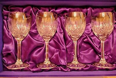 EDINBURGH CRYSTAL GLASSES ~ SUITE OF FOUR WINE/HOCK GLASSES ~ Blue Lined Box