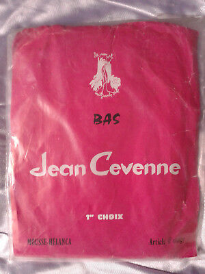 Bas stockings nylon vintage Jean Cevenne Beige taille 2FR40/42 UK9 USA D38/40