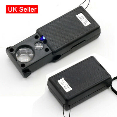 Pocket LED Magnifying Glass 30X 60X Magnifier Slide Out Loupe UV Light