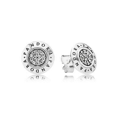 Authentic Pandora Silver Signature Silver Stud Earrings with CZ 290559CZ