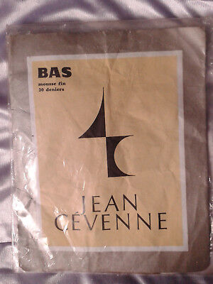 Bas stockings nylon vintage Jean Cevenne noir taille1 FR36/38 UK8,5 USA D34/36
