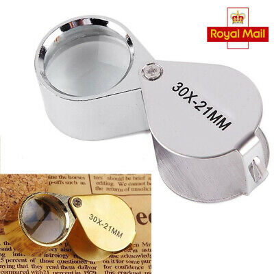 Pocket 30x Magnifier Jeweller Eye Glass 21mm Loop Lens Magnifying Loupe UK SUN