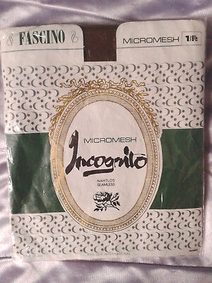 Bas stockings nylon vintage marron Incognito taille1 FR36/38 UK8,5 USA D34/36