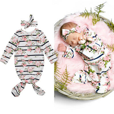 US Stock Cute Newborn Infan Baby Girls Outfit Foral Romper Headband 2Pcs Clothes