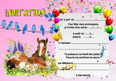 5 12 ou 14 cartes invitation anniversaire cheval chat réf 451