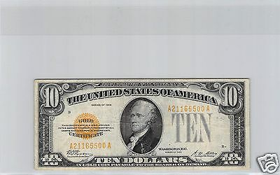 Usa United States Gold Certificate $10 Dollars Yellow 1928 No. A21165500A Rare