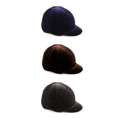 * Shires Velveteen Skull Cap Cover - Black, Navy & Brown *