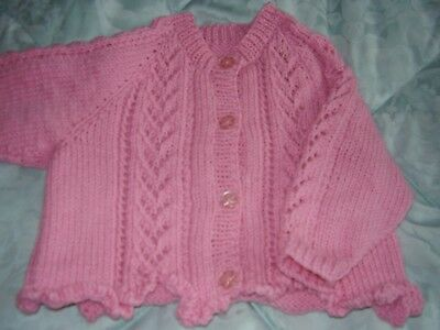 Hand knitted baby girls cardigan pink dk acrylic 3-6 months