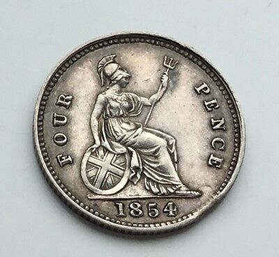Decent 1854 Victoria 4 pence coin /groat.