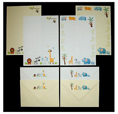 Cute Colourful Jungle Animals Letter Writing Stationery Set white & cream paper