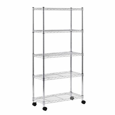 """Sandusky MWS301460 5-Tier Mobile Wire Shelving Unit with 2"""" Nylon Casters, 5 60"""""""