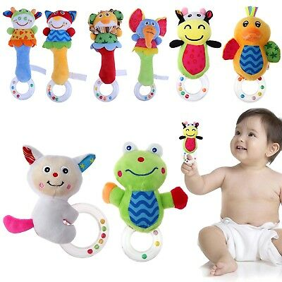 Baby Boys Girls Rattle Toys Animal Hand Bell Christmas Gift Stroller Hanging Toy