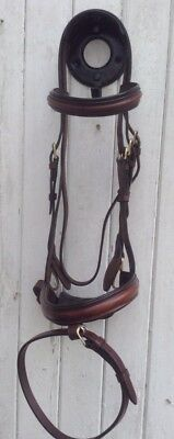 KATE NEGUS FULL SIZE BROWN FLASH SHOW JUMPING BRIDLE.  (Ref:  257 R)