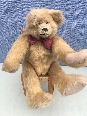 Vintage Russ Judy Senk Bradford Teddy Bear 16 Inch Jointed With Bow tie Stylish
