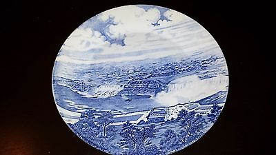 """Antique J G Meakin Hand Engraved 10"""" Blue & White Niagara Falls Collector Plate"""
