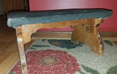 NICE Antique Heavy/Sturdy SOLID WALNUT Covered Foot Stool/CRICKET BENCH!